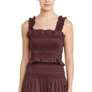 NEW Rebecca Taylor Womens Smock Top Plum